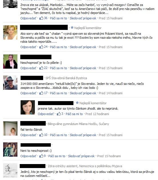 Fejsbuk komentáre na webe Markíza