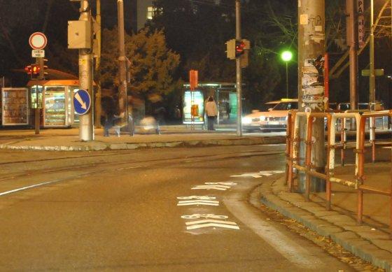 Označenie cesty cyklistom na Špitálskej až Krížnej