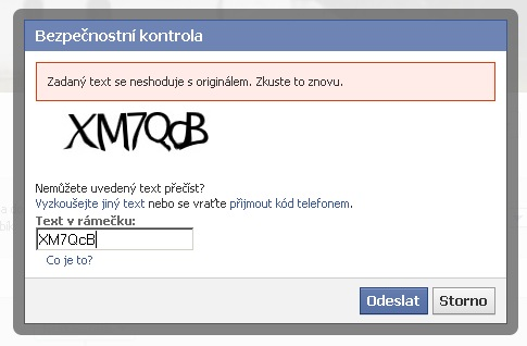 Facebook chyby