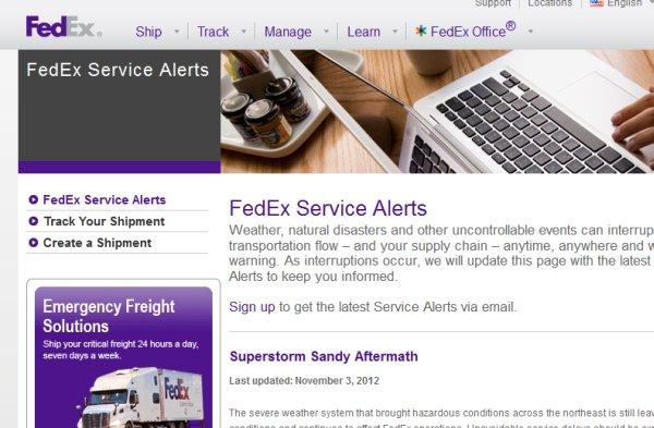 Fedex a Sandy