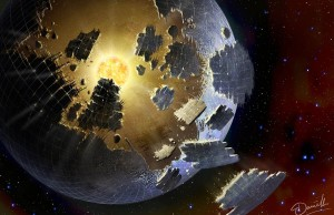 Umelecky zobrazený Dysonov roj / Danielle Futselaar/SETI International