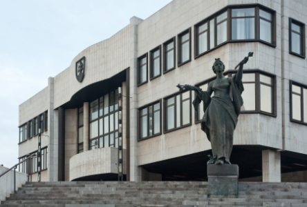 13824829 - national council of slovak republic (narodna rada sr) with statue in front of it