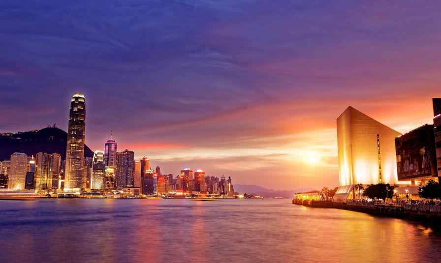 42092354 - beautiful hongkong cityscape at sunset, hong kong city.