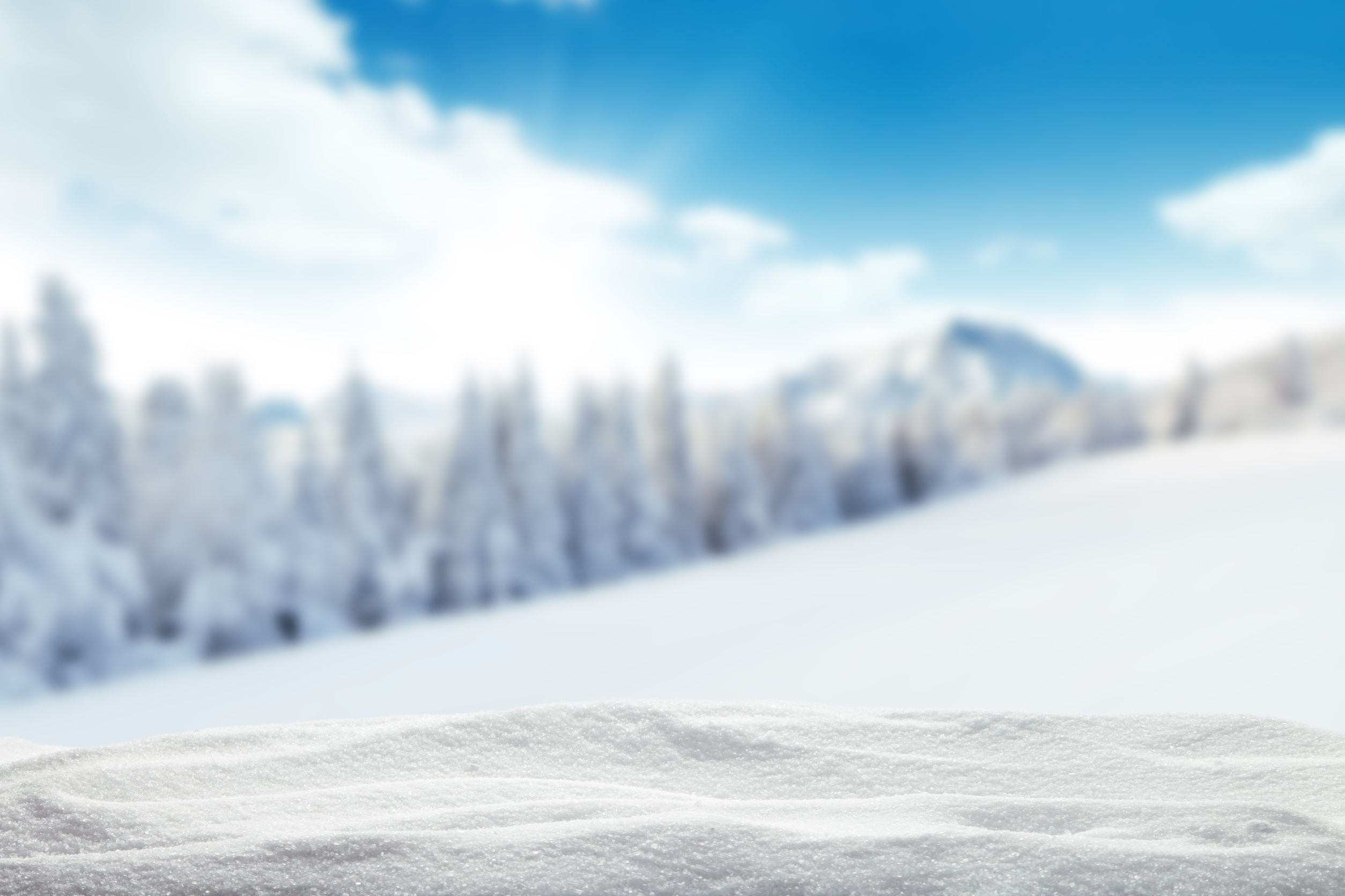 46629080 - winter background with pile of snow and blur landscape. copyspace for text