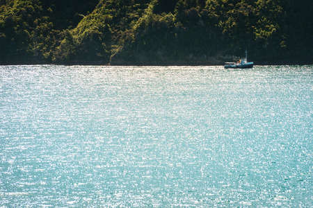 58153968 - small boat sailing in the sea gulf, new zeland