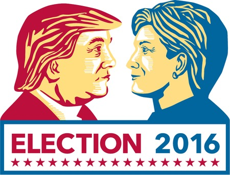 60285546 - illustration showing republican donald trump versus democrat hillary clinton face-off for american president with words election 2016 on isolated white background done in stencil retro art style.