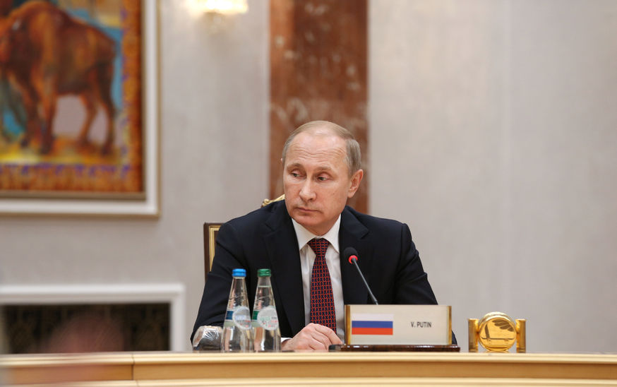 36459577 - minsk, belarus - feb 11, 2015: russian president vladimir putin before the negotiations leaders of states in normandy format in minsk