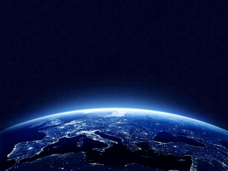 38401005 - earth at night as seen from space with blue, glowing atmosphere and space at the top. perfect for illustrations. elements of this image furnished by nasa