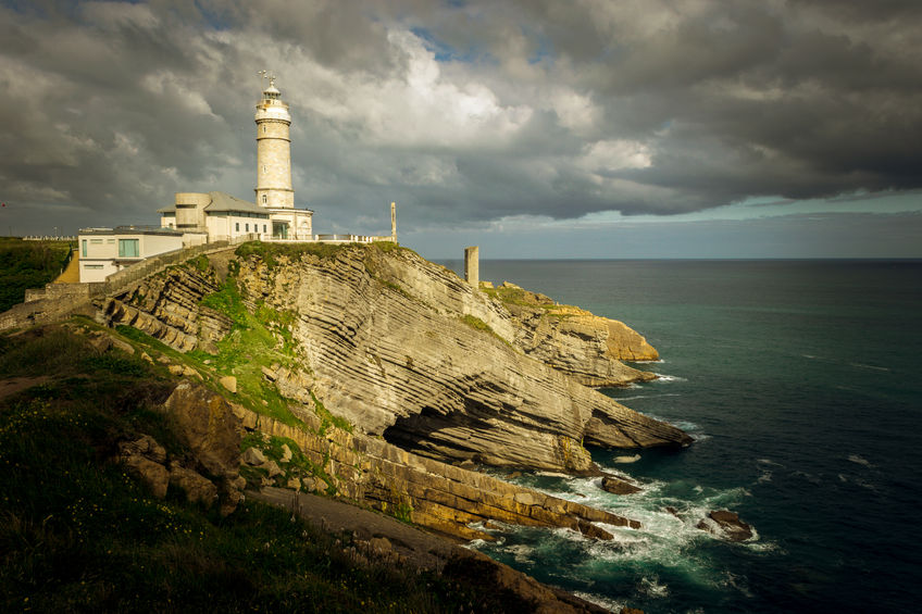 40754034 - bella vista lighthouse and cliffs in the greater cape of santander (cantabria, spain)