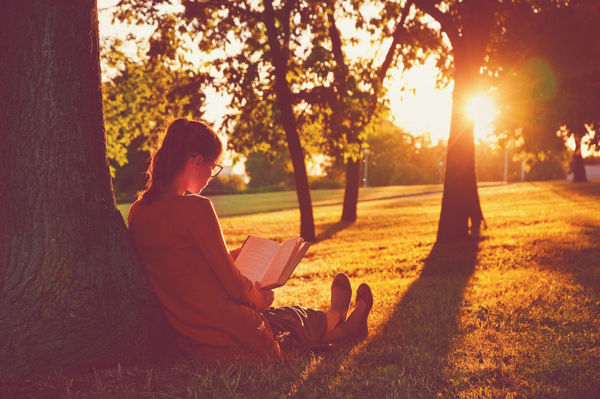 46674853 - girl reading book at park in summer sunset light