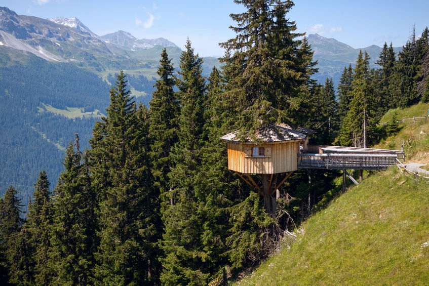47911919 - alpine wooden treehouse in switzerland