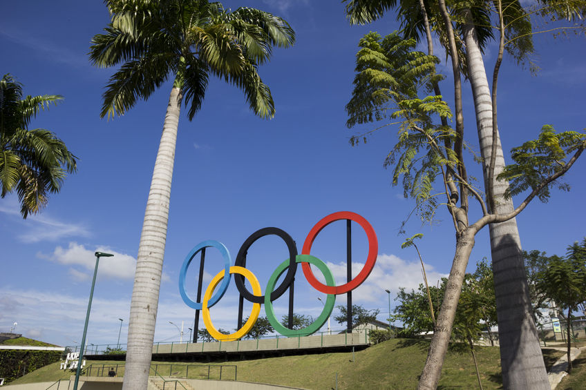 58701714 - rio de janeiro, brazil, 22 june 2016: view of the olympic rings installed in madureira park, in the north of rio de janeiro. these olympic rings were installed in london and were donated to rio de janeiro.