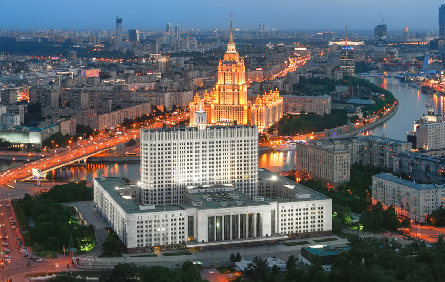 64690425 - building of the government of the russian federation in moscow at evening (white house the view from the top)