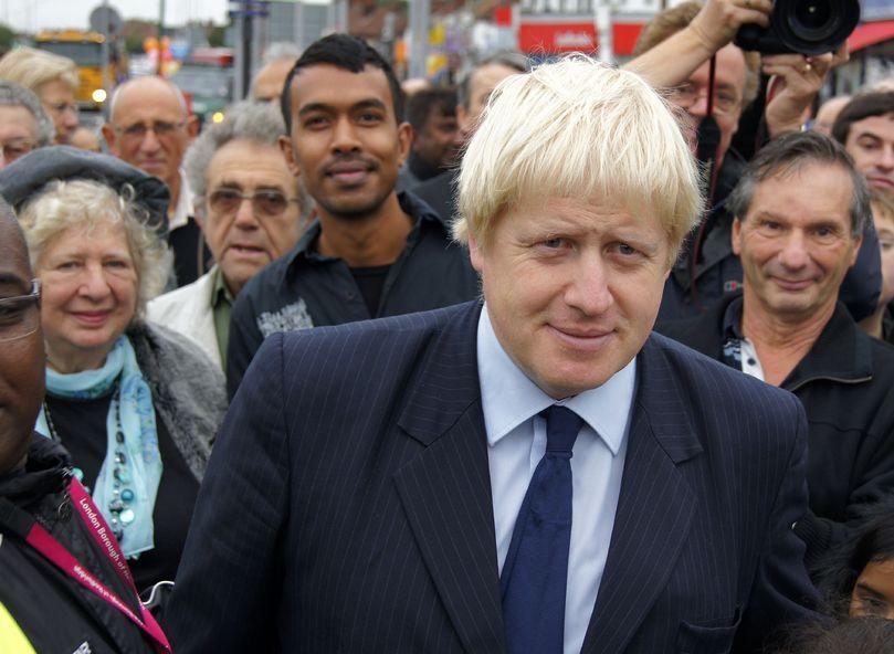 7960550 - london - october 1: london mayor boris johnson at the reopening of gants hill roundabout october 1, 2010 in gants hill london, england.