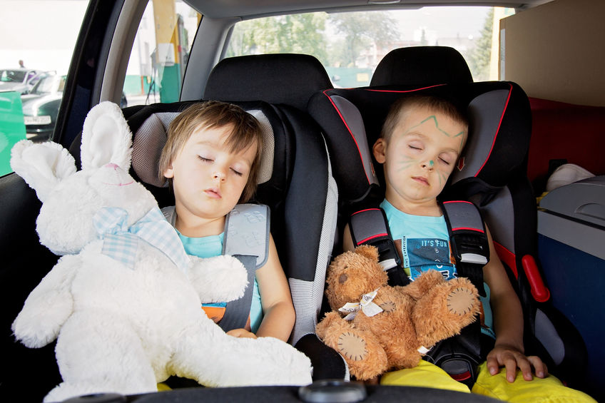 29883000 - two boys in car seats, travelling, sleeping in the car with teddy bears