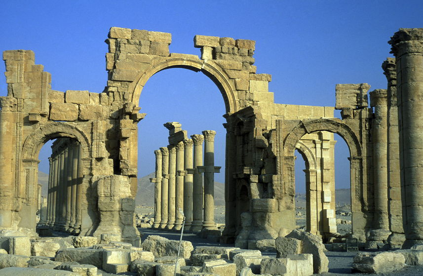 40051913 - the roman ruins of palmyra in palmyra in the east of syria.