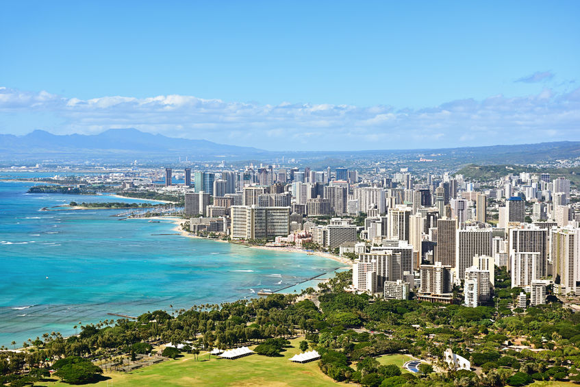 40366718 - honolulu and waikiki beach on oahu hawaii. view from the famous diamond head hike from diamond head state monument and park, oahu, hawaii, usa.