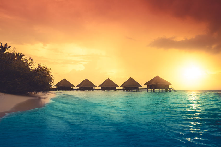 43009881 - over water bungalows with steps into amazing green lagoon