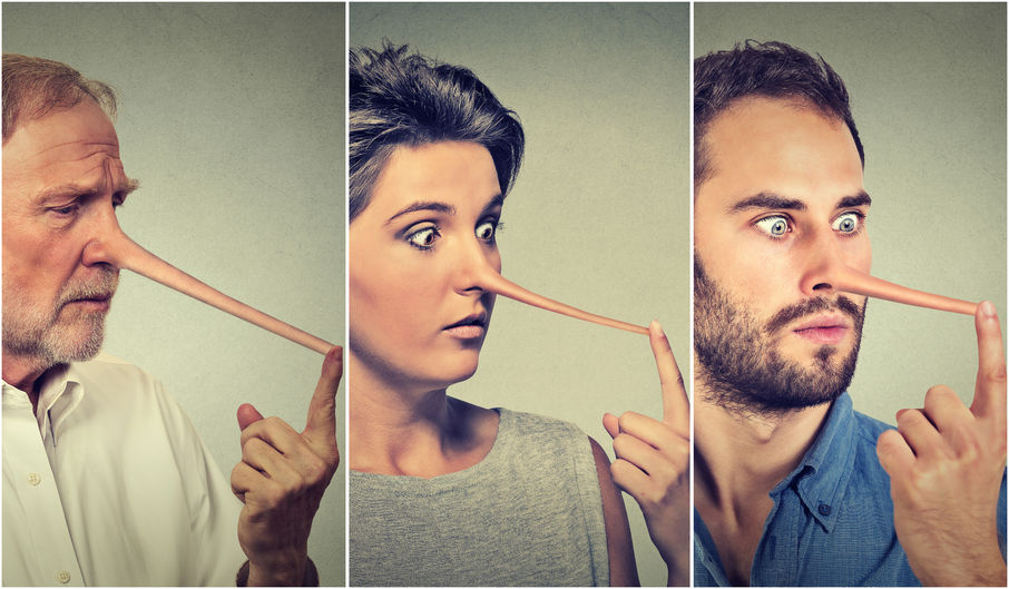 52660433 - people with long nose isolated on grey wall background. liar concept. human face expressions, emotions, feelings.