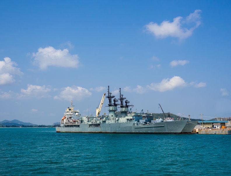 60136926 - warship at the harbor