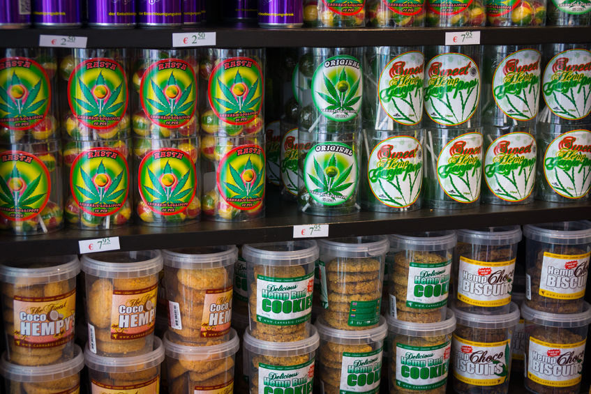 33326869 - amsterdam - august 26: candy and cookies with marijuana for sale in the coffeeshop on august 26, 2014 in amsterdam.