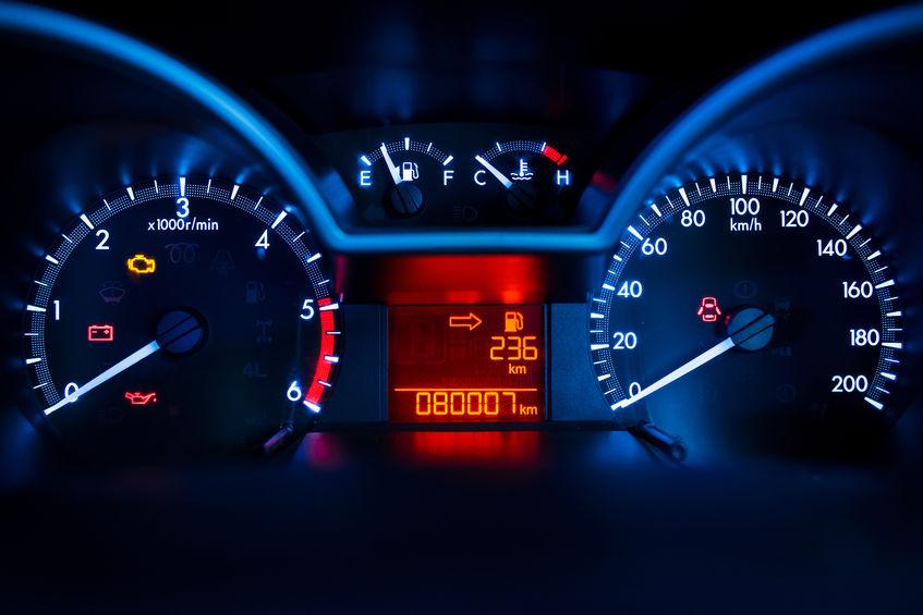43214860 - modern car illuminated dashboard closeup