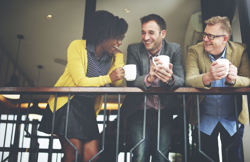 49441859 - group business people chatting balcony concept