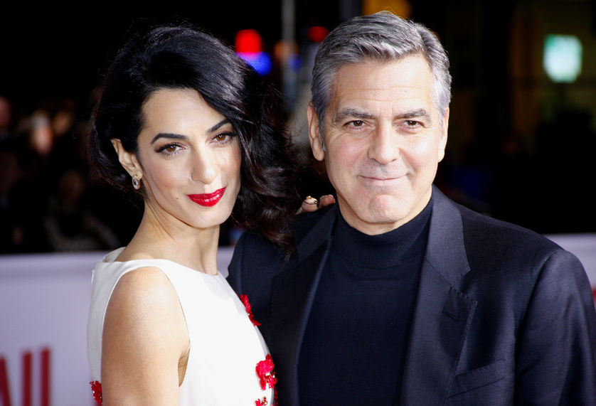 51491986 - george clooney and amal clooney at the world premiere of 'hail, caesar!' held at the regency village theatre in westwood, usa on february 1, 2016.