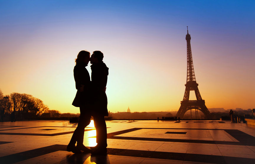 53081031 - dream honeymoon in paris, romantic couple silhouette