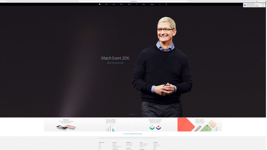 53942273 - paris, france - mar 23, 2016: results of the latest apple keynote with the apple.com website presenting tim cook, apple ceo and the invitation to watch the march event in reply