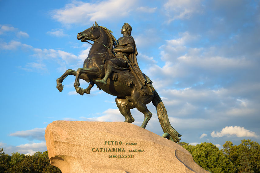 62167149 - saint petersburg, russia - august 09, 2016: the monument to peter the great closeup on the background of the cloudy sky on an evening in august