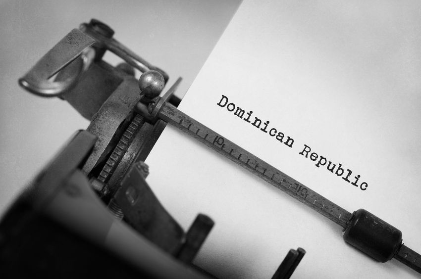 70582438 - inscription made by vinrage typewriter, country, dominican republic