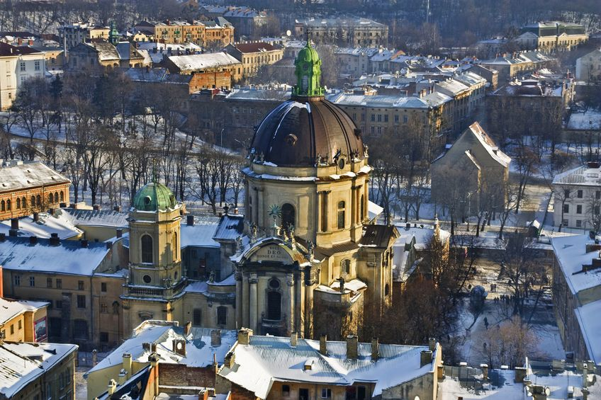 14286642 - historical centre of lviv / lvov in western ukraine. panoramic view of the city in europe with uspensky church and dominican cathedral