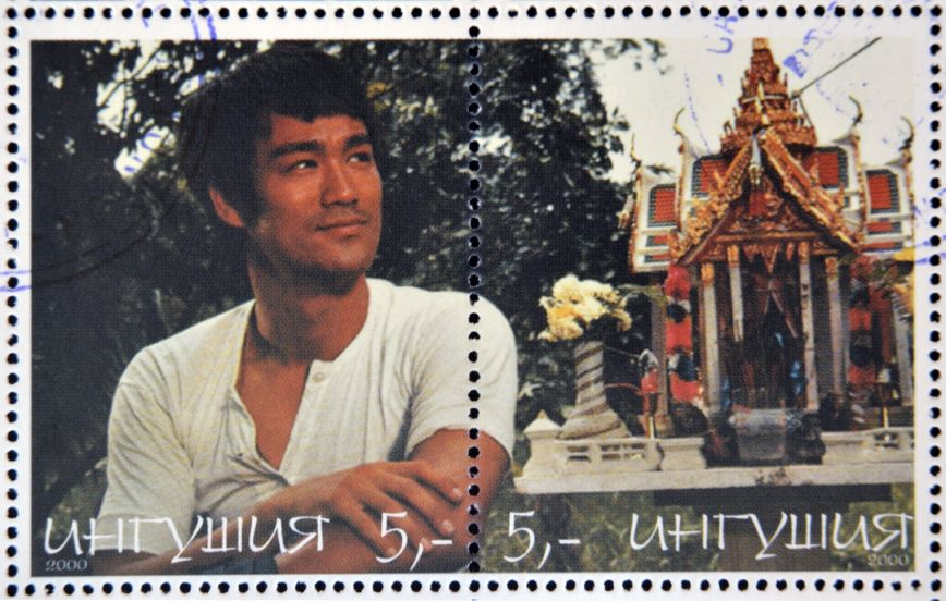 21794216 - republic of sakha (yakutia) - circa 2000: a stamp printed in yakutia shows bruce lee, circa 2000