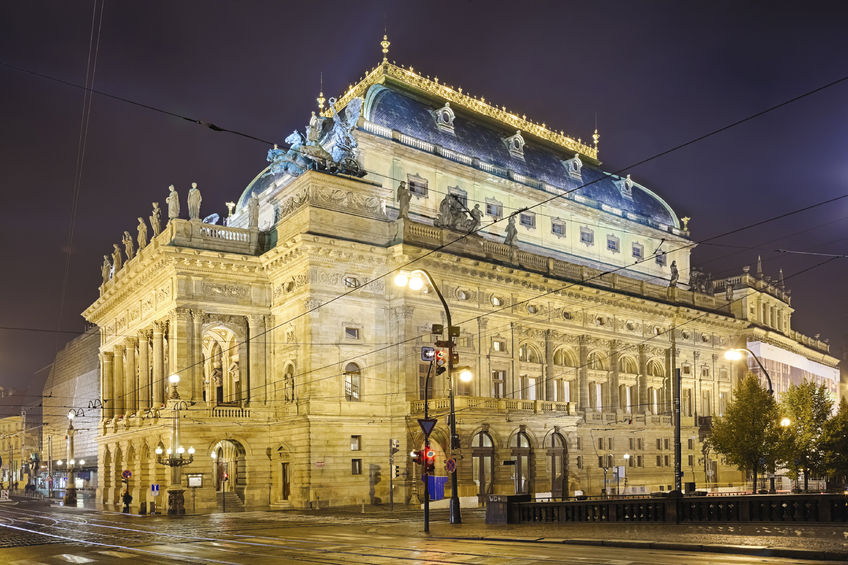 26799533 - prague, czech republic, the national theater in the night