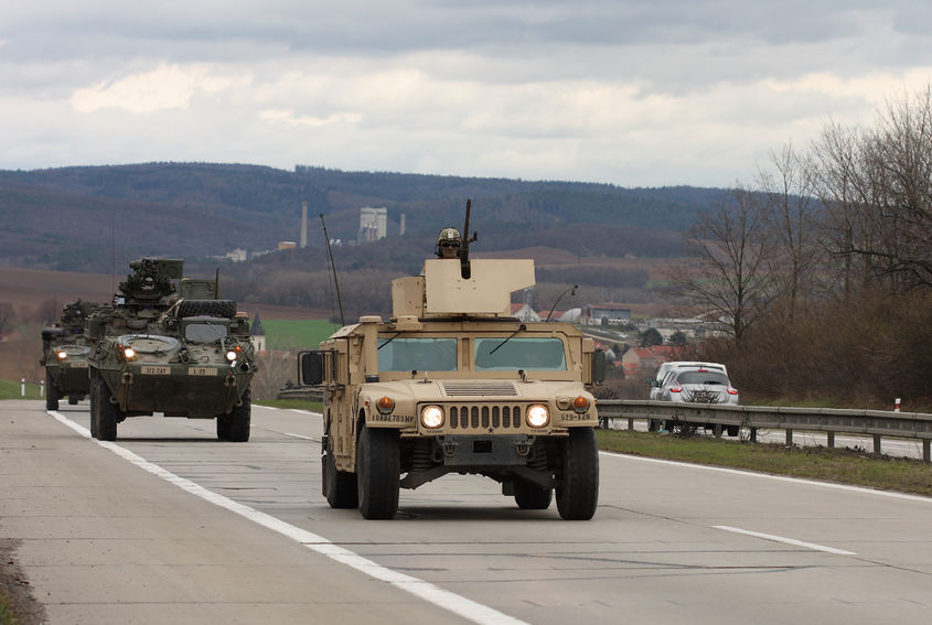 38408080 - brno,czech republic - march 30, 2015:dragoon ride - us army convoy drives through czech republic. the u.s. military convoy, returning from the baltic countries to a german base, entered the territory of the czech republic