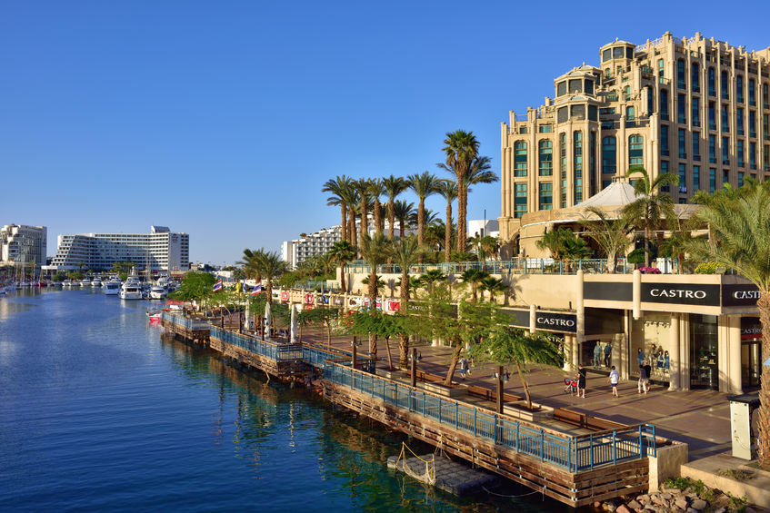 38953807 - eilat, israel - march 31, 2015: eilat city shown at sunset time, famous international resort - the southest city of israel