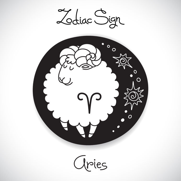 38997107 - aries zodiac sign of horoscope circle emblem in cartoon style. vector illustration.