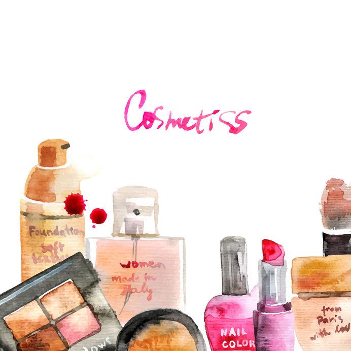 40659190 - glamorous make up watercolor cosmetics background