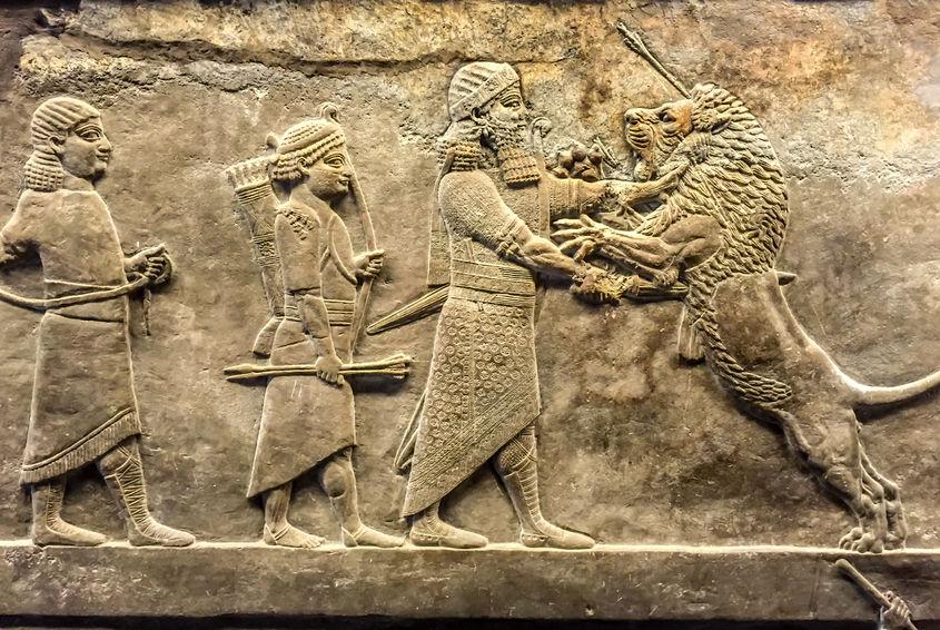 43682970 - assyrian's relief art in british museum, london, uk