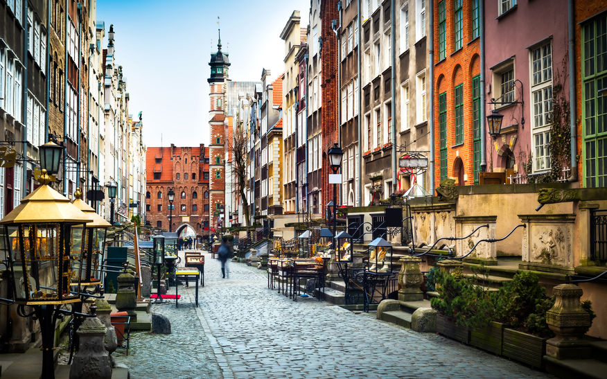 45364914 - architecture of mariacka street in gdansk is one of the most notable tourist attractions in gdansk.