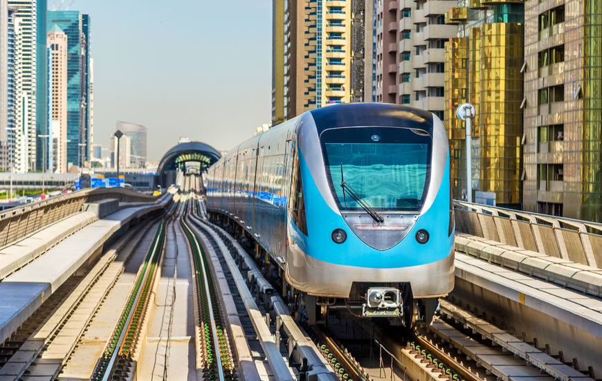 52457987 - metro train on the red line in dubai