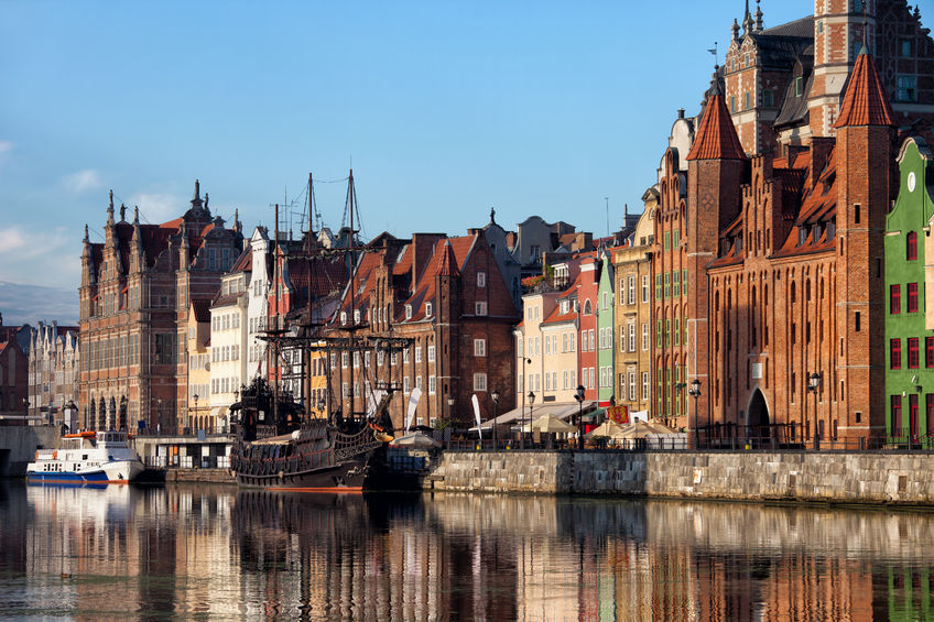57796284 - city of gdansk in poland, old town skyline from motlawa river
