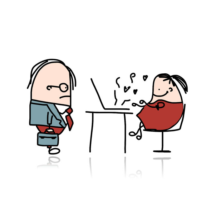 31730875 - angry boss and secretary, cartoon for your design