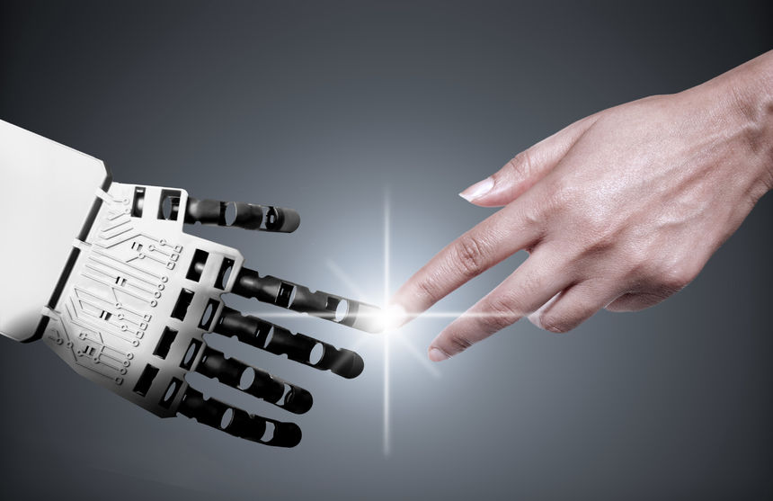46729871 - robot and human touching forefingers
