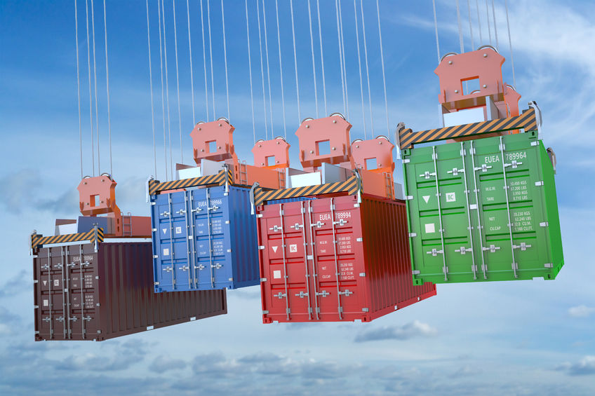 53849954 - cargo delivery concept, containers with crane hook