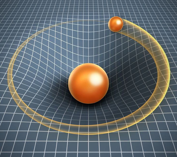 19776455 - gravity 3d illustration - object affecting space time and other objects motion