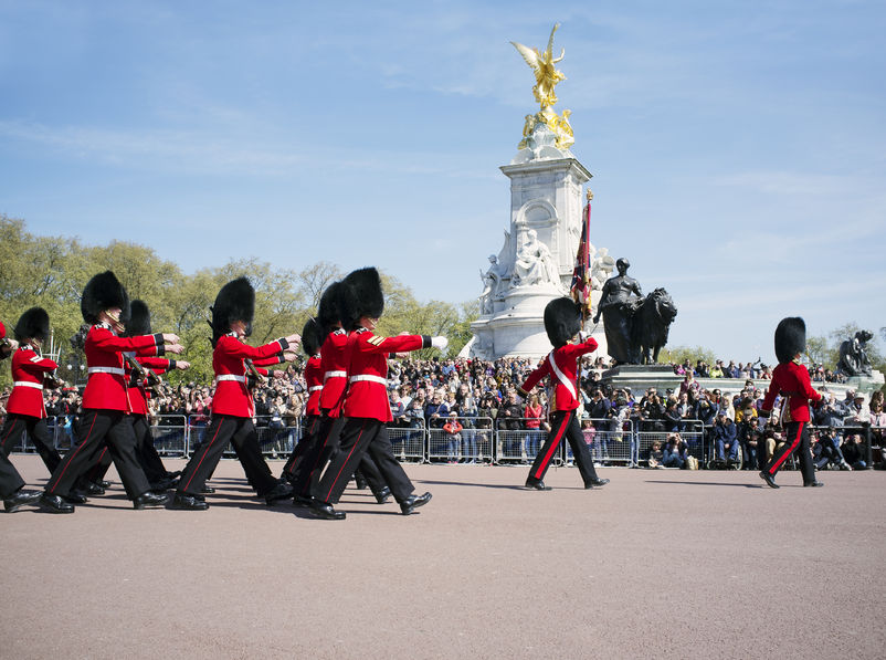 27812590 - london, uk – april 16, 2014: changing the guard at buckingham palace in london