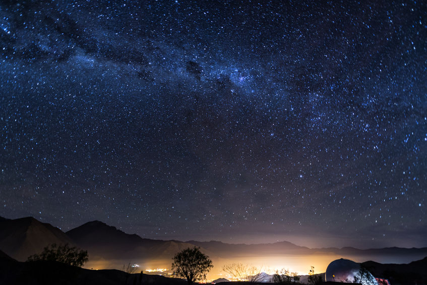 30446759 - view of the milky way over the elqui valley in chile