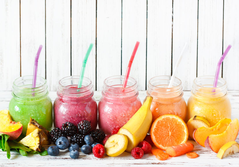 43684986 - healthy smoothies with fresh ingredients on a kitchen board.